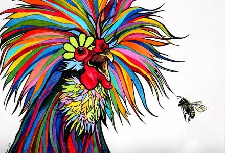 Polish Rooster Rainbow by Robin Arthur aka RobiniArt 850