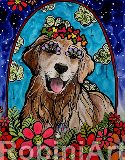 Golden Retriever Custom Portrait by Robin Arthur aka RobiniArt Ryver 2018
