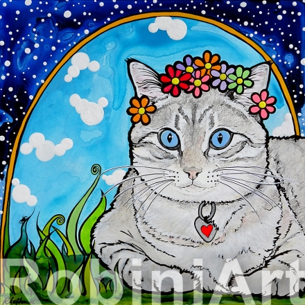 RobiniArt Pet Portraits Cat named Coco