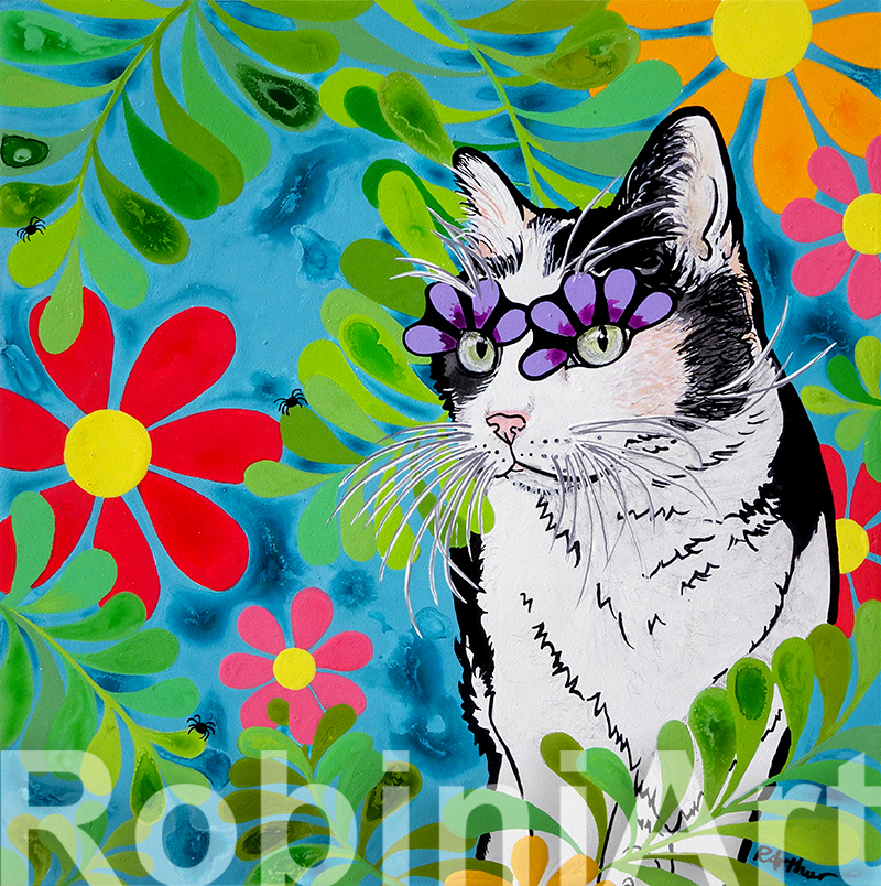 Cat Art Pet Portrait by RobiniArt