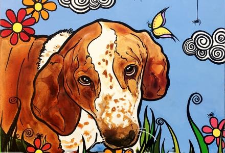 Bassett Hound Pet Portrait RobiniArt Droopy 2018