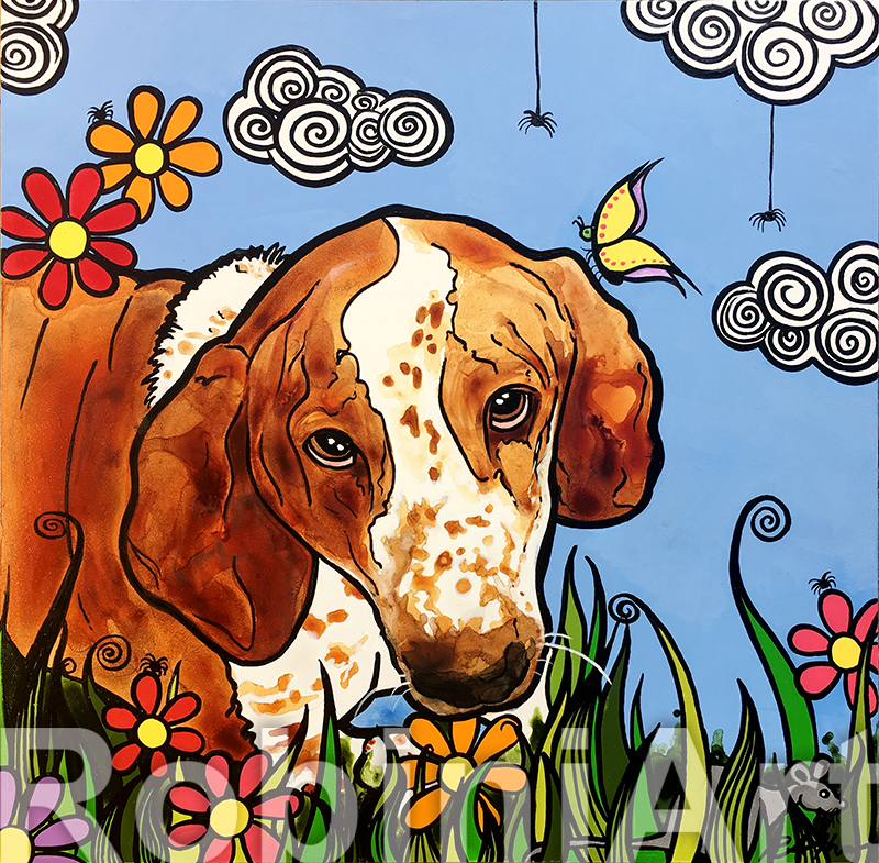 Bassett Hound Pet Portrait RobiniArt Droopy 2018