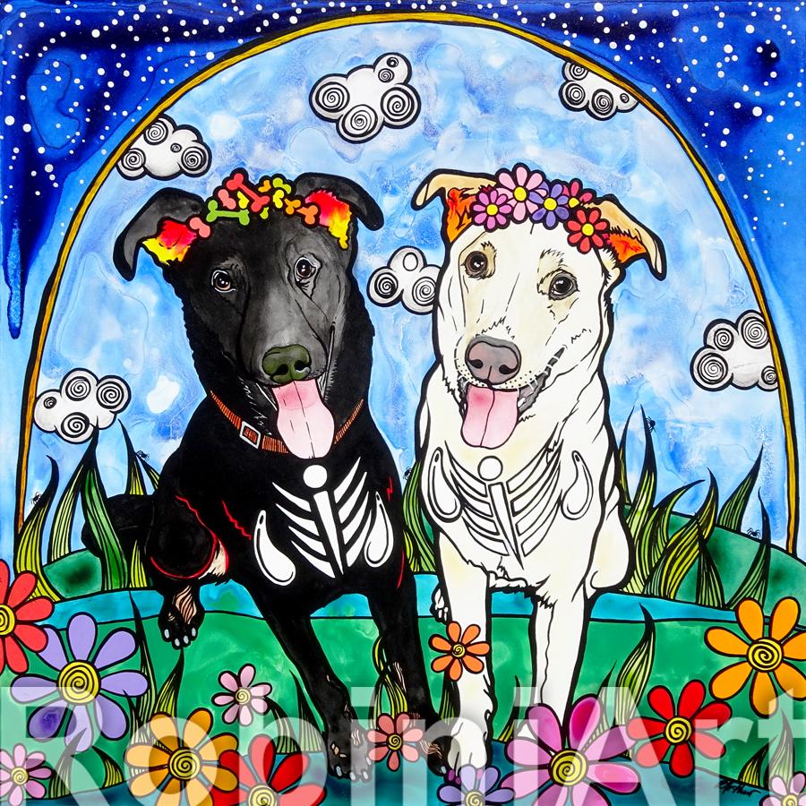 Custom Pet Portrait RobiniArt Parker and Mollie