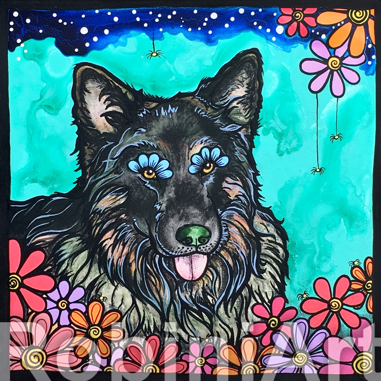 German Shepherd Pet Portrait Poseidon RobiniArt