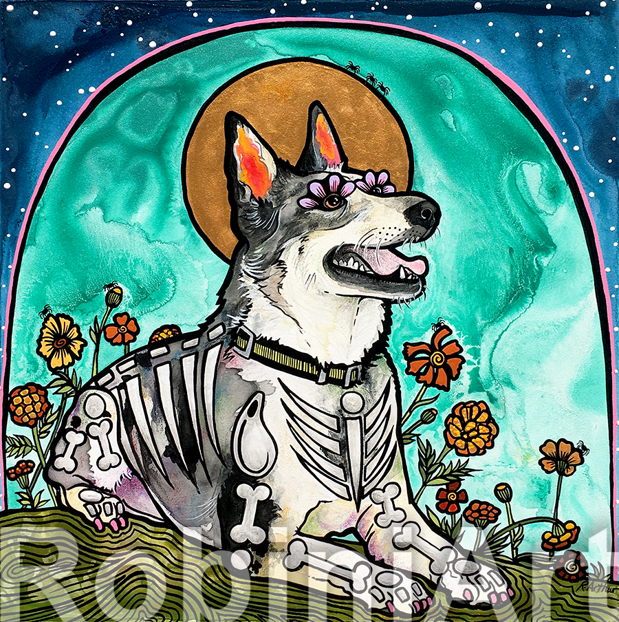 Koolie Dog Pet Portrait RobiniArt 2018