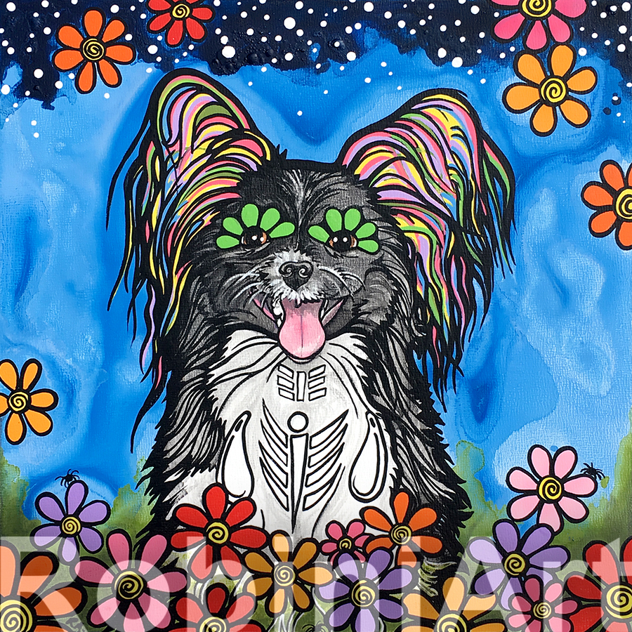 Papillon Pet Portrait by RobiniArt