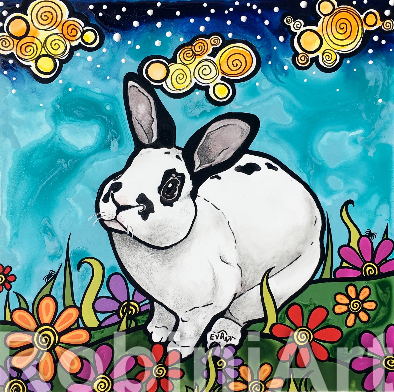 Rabbit Pet Portrait by RobiniArt 2018