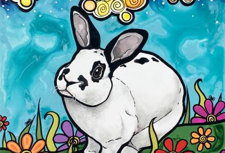 Rabbit Pet Portrait by RobiniArt 2018