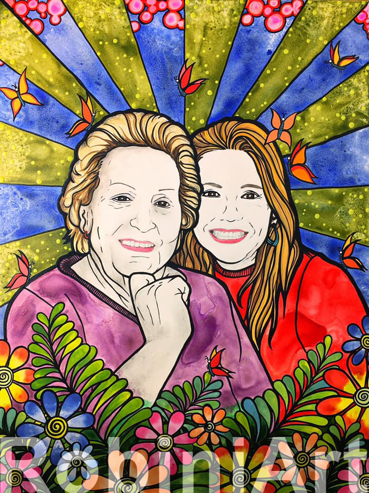 RobiniArt Custom Portrait of two women