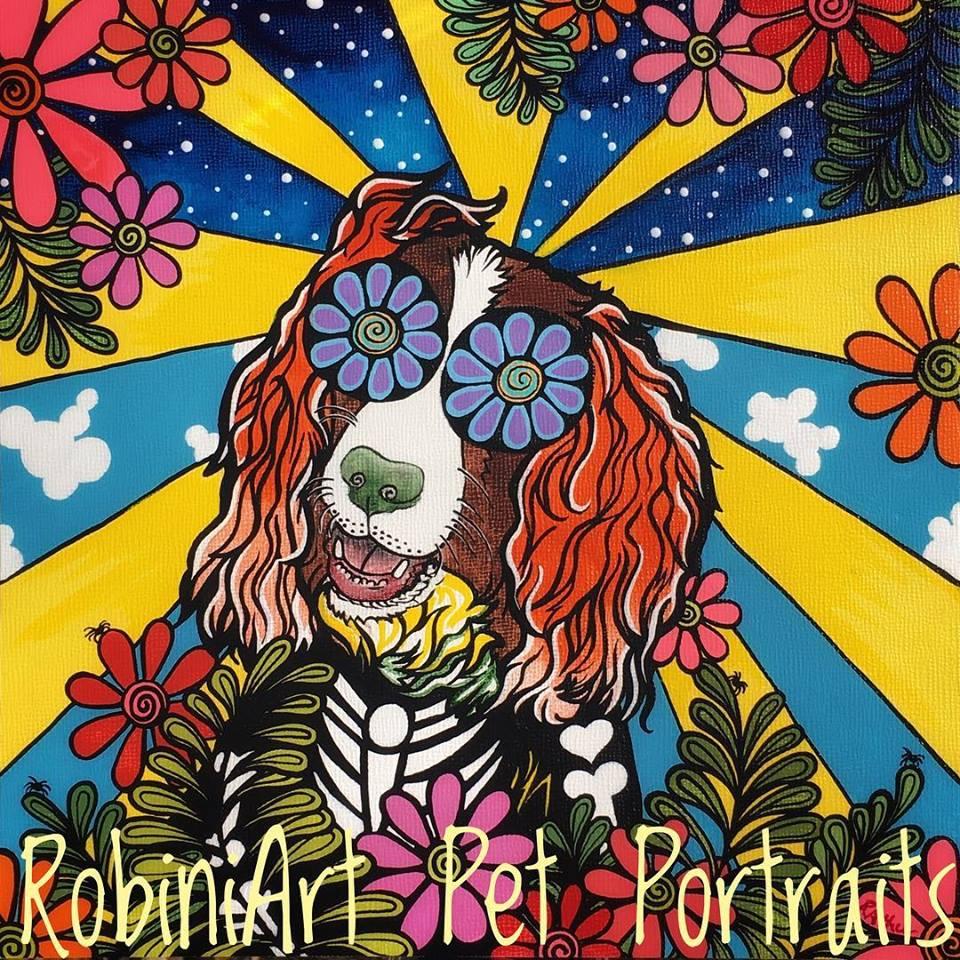 RobiniArt Pet Portrait Springer Spaniel