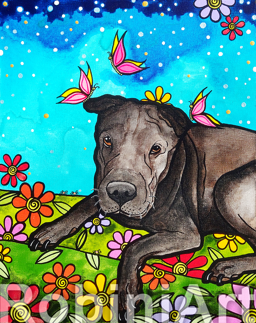 Shar Pei Pet Portrait by RobiniArt 2018
