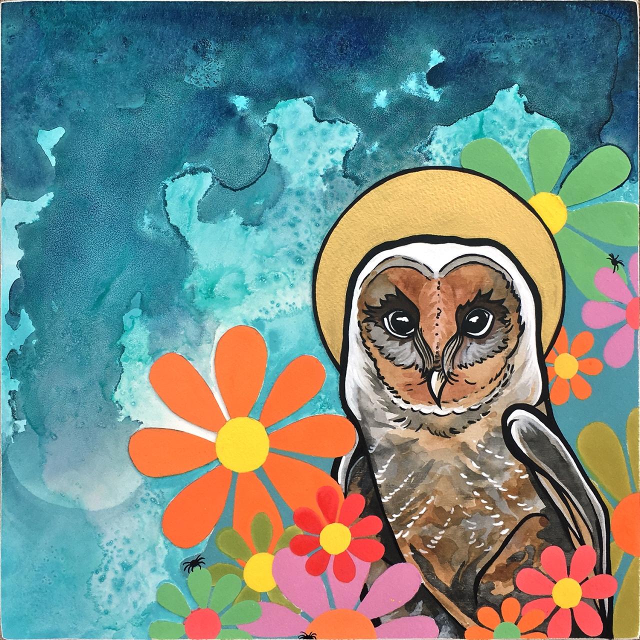 robiniart barn owl embellished giclee