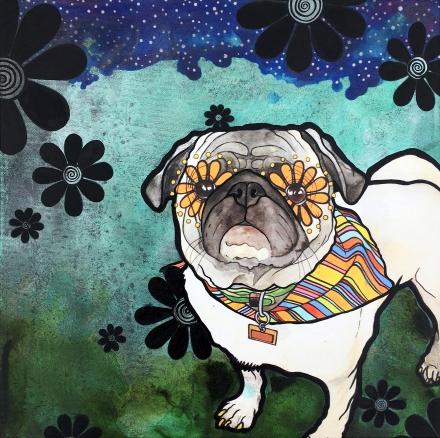 robiniart pug embellished print