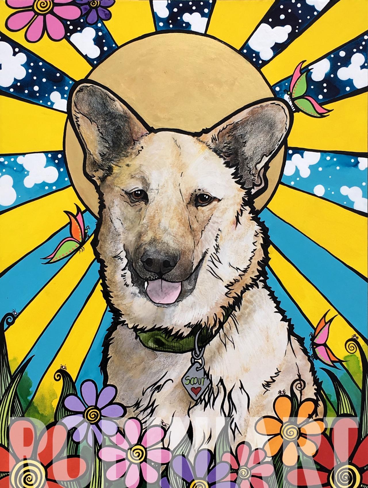 RobiniArt Pet Portrait Dog Painting 2019
