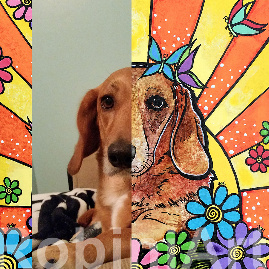 RobiniArt Dachshund Pet Portrait with Photo