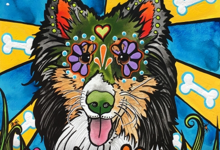 Custom Pet Portrait of a Sheltie Dog by RobiniArt