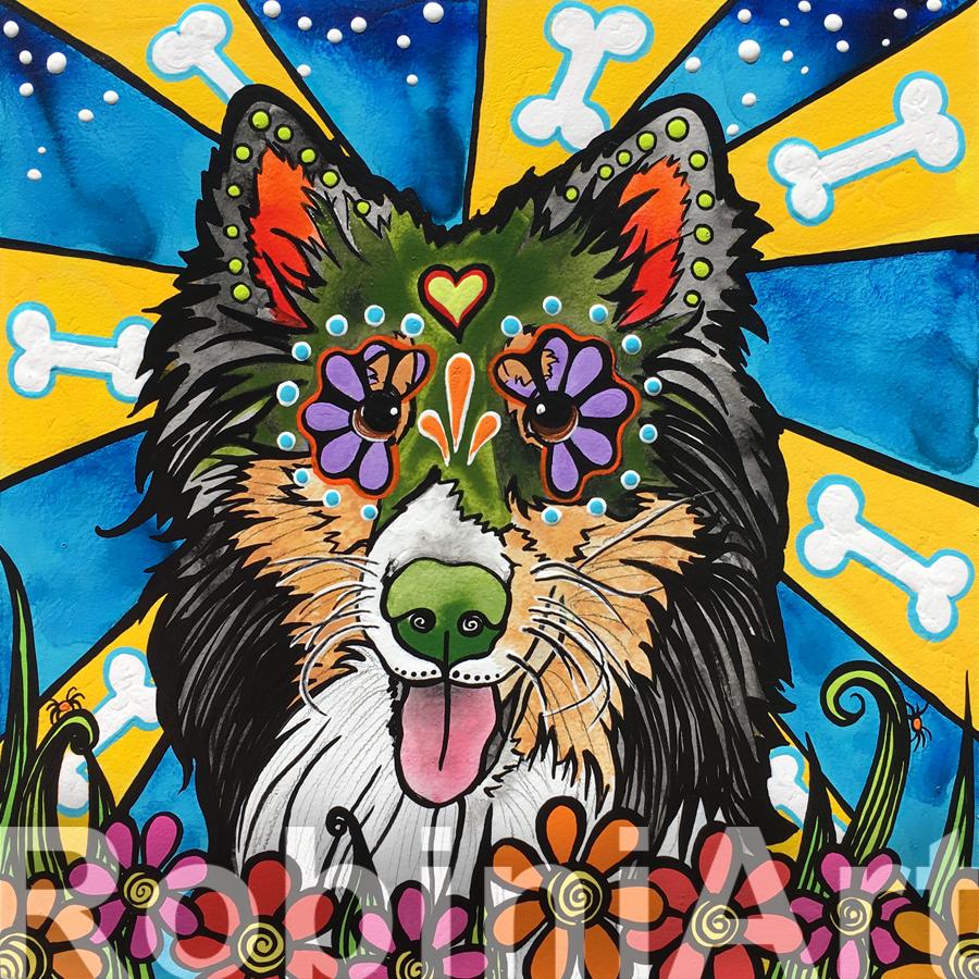 Custom Pet Portrait of a Sheltie Dog by RobiniArt