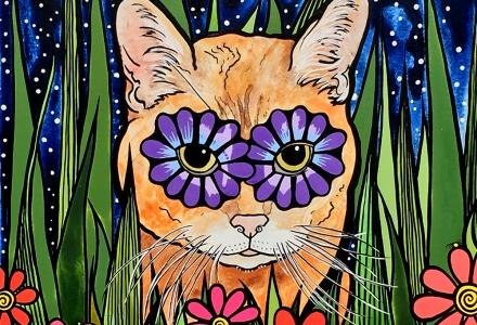 Custom Portrait of an Orange Cat by Robin Arthur of RobiniArt