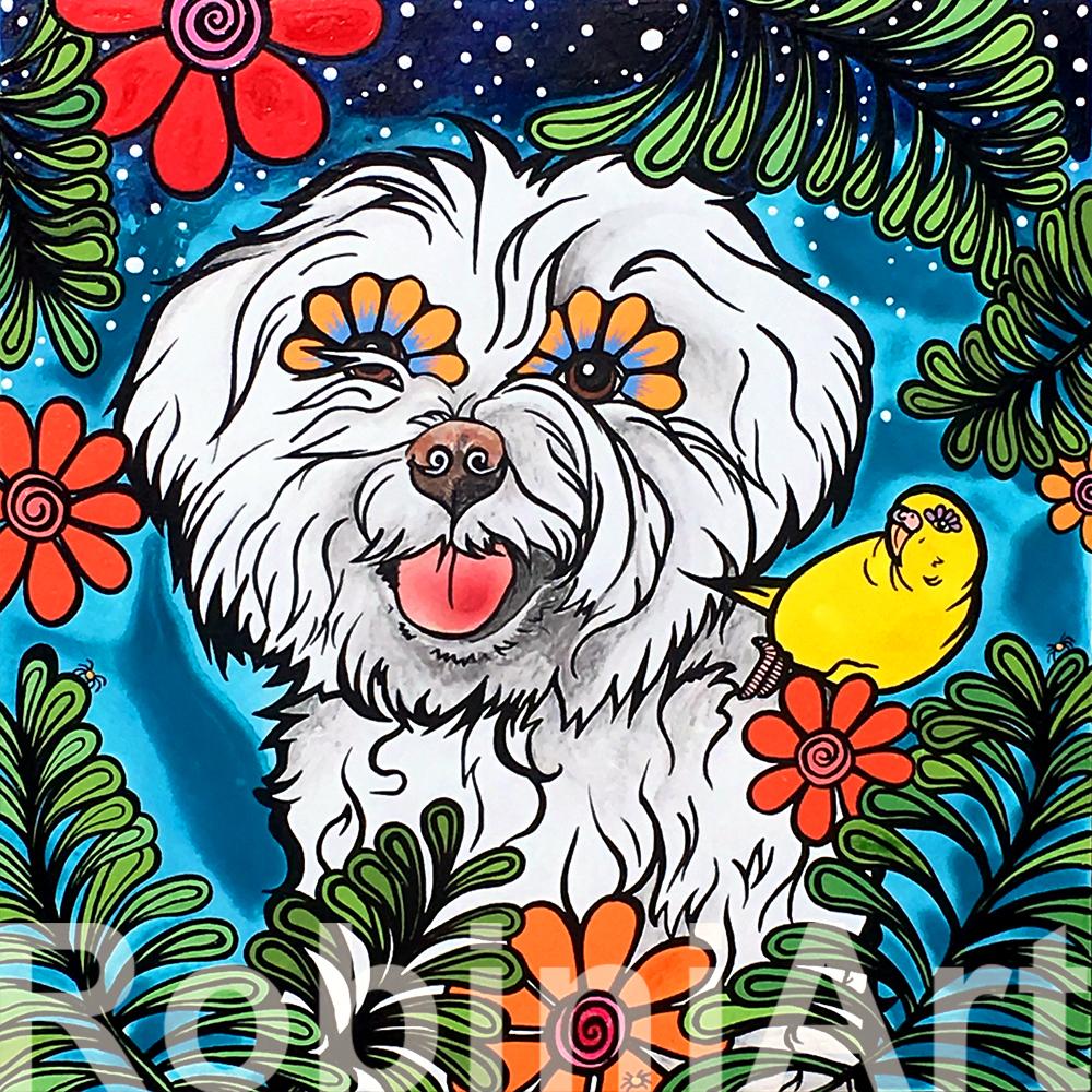 Custom Portrait of a Maltese Dog and a Parakeet by RobiniArt Robin Arthur