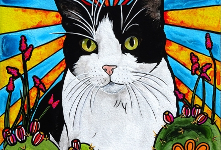 RobiniArt Black and White Cat Portrait