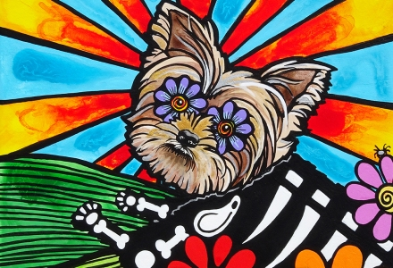 Yorkshire Terrier Portrait by RobiniArt