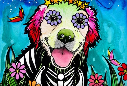 Sugar Skull Golden Retriever Painting by Robin Arthur aka RobiniArt