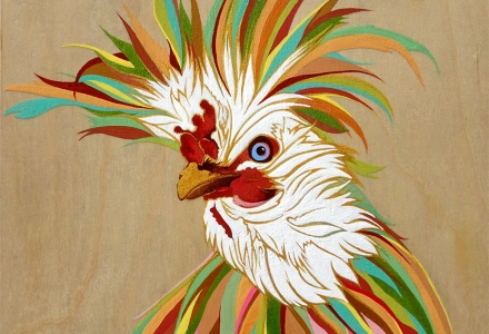 Polish Rooster Polish Chicken Painting by Robin Arthur aka RobiniArt