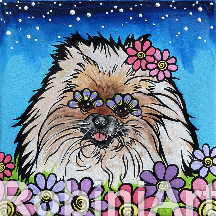 Pomerania Pet Portrait by RobiniArt