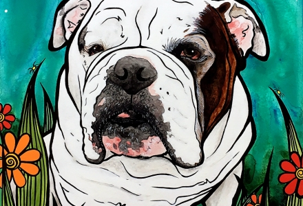 English Bulldog Pet Portrait by Robin Arthur, aka RobiniArt
