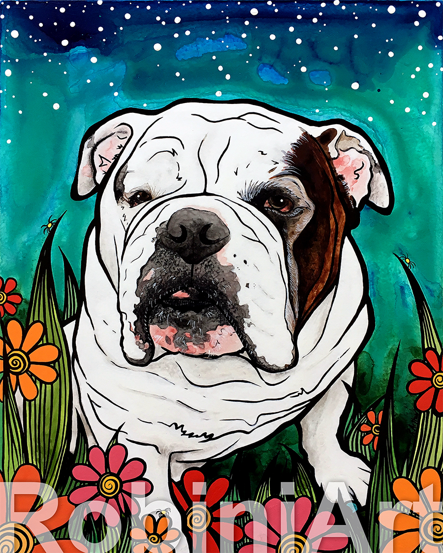 English Bulldog Pet Portrait by Robin Arthur, aka RobiniArt