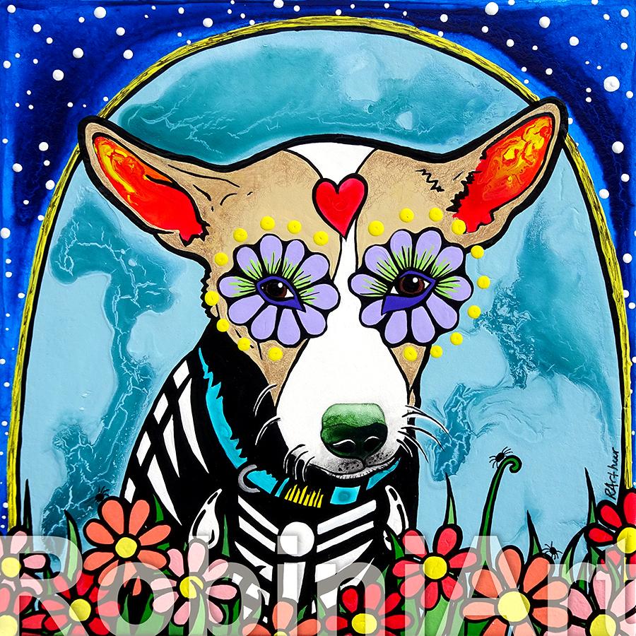 Sugar Skull Chihuahua Pet Portrait by RobiniArt