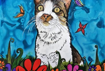 Custom Cat Painting by Robin Arthur aka RobiniArt