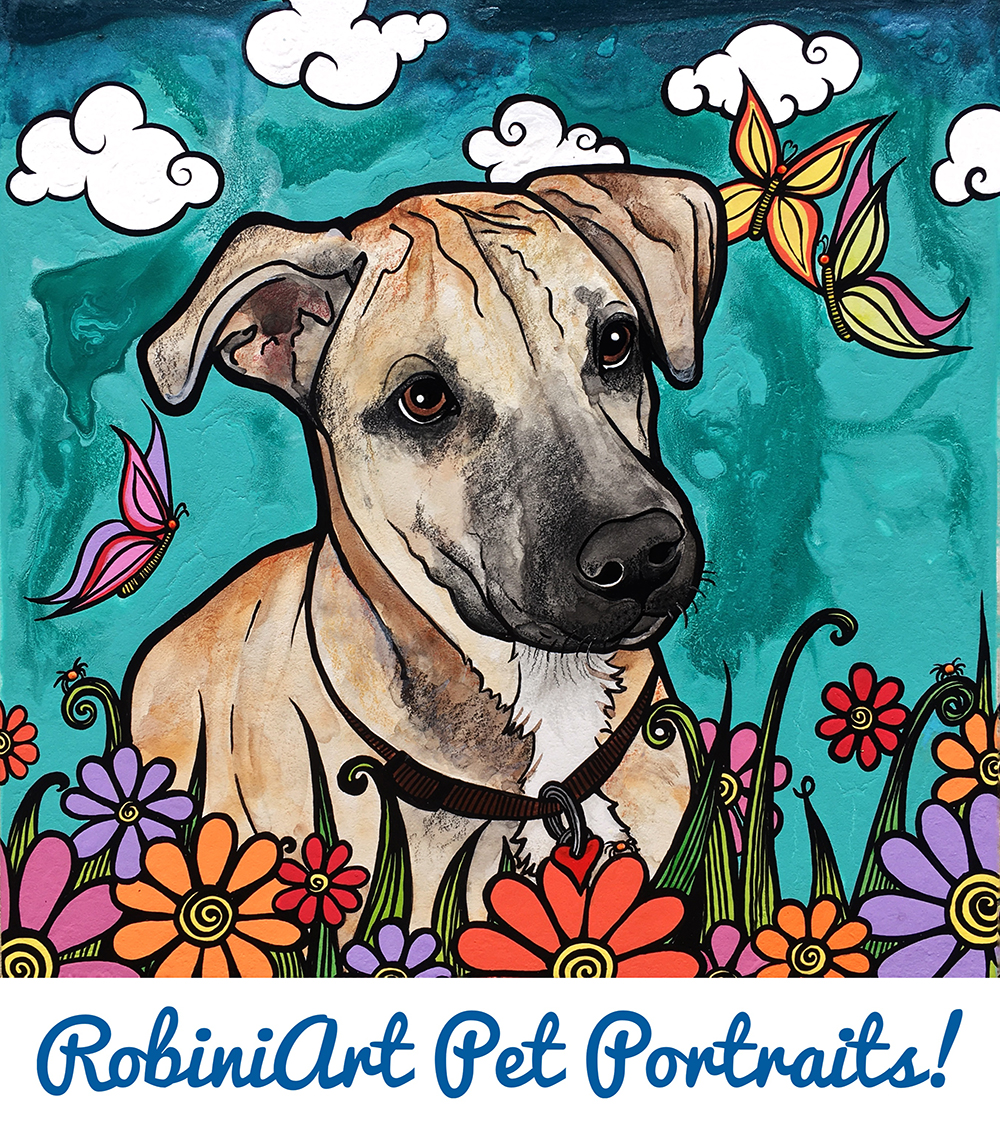 Custom Pet Portrait by Robin Arthur of a dog named Butters