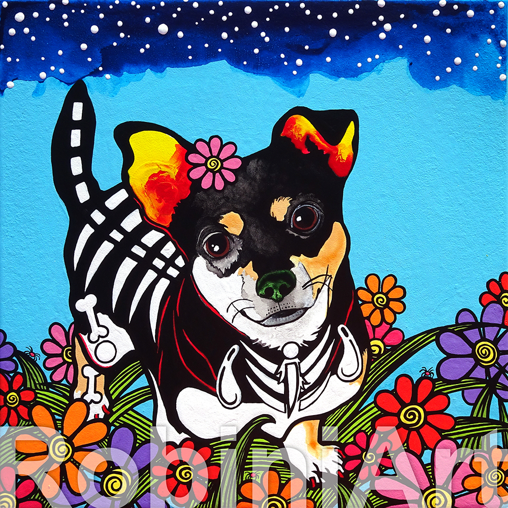 Sugar Skull Terrier Mix by RobiniArt