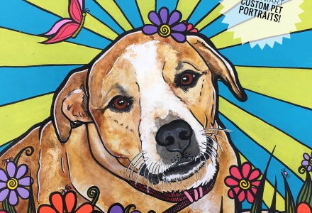 Custom Pet Portrait of a Pit Bull named Erin by RobiniArt aka Robin Arthur